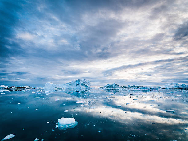 Arctic Icebergs Greenland Ilulissat Ice Fjord Morning Sunrise  ice floe stock pictures, royalty-free photos & images