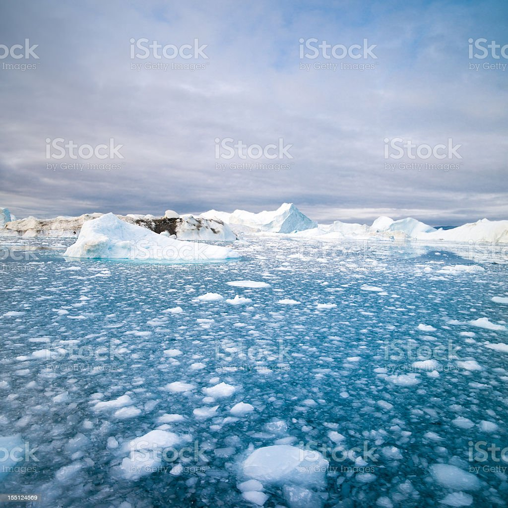 Arctic Icebergs North West Greenland stock photo