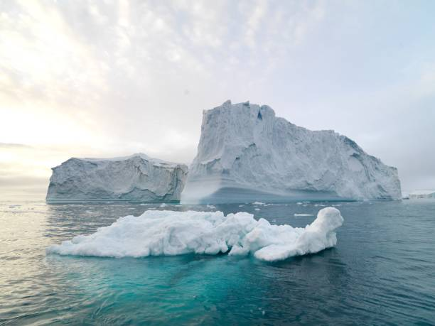 arctic icebergs on arctic ocean in greenland - iceberg stock photos and pictures
