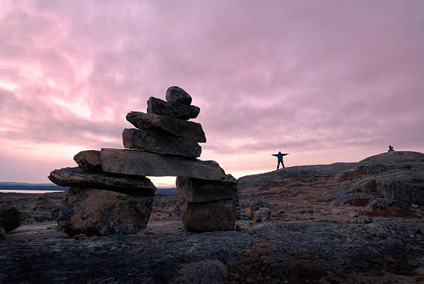 Arctic Inukshuk, Baffin Island. stock photo