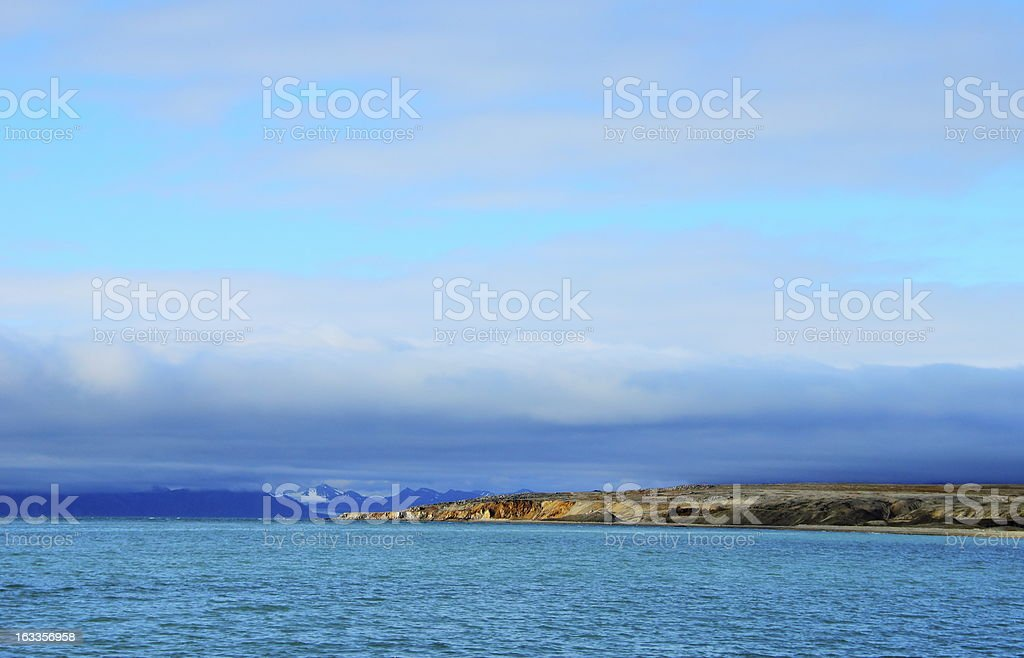 Arctic landscape in Spitsbergen (Svalbard island) royalty-free stock photo