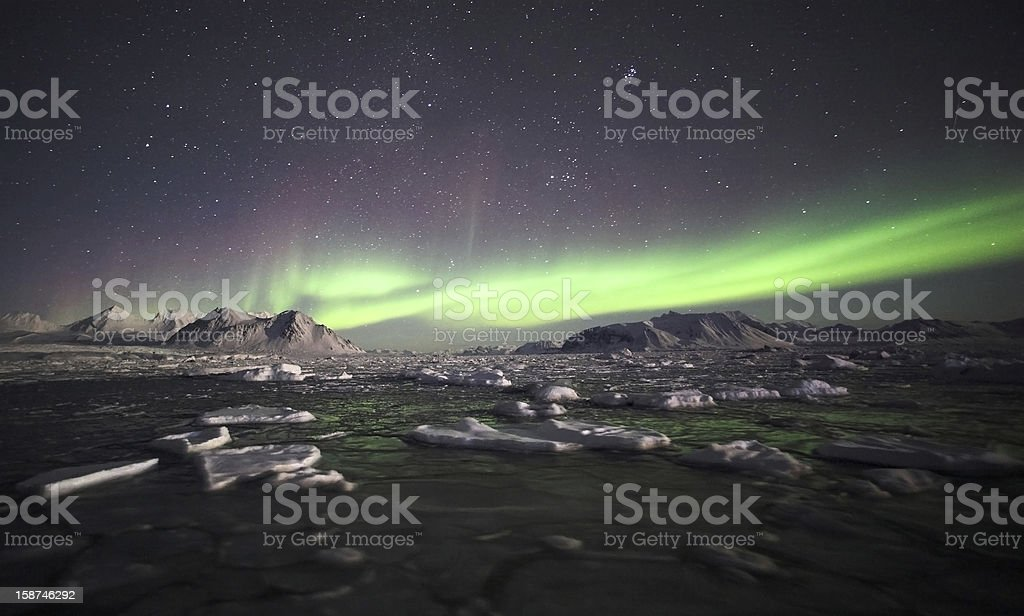 Arctic landscape - Northern Lights stock photo