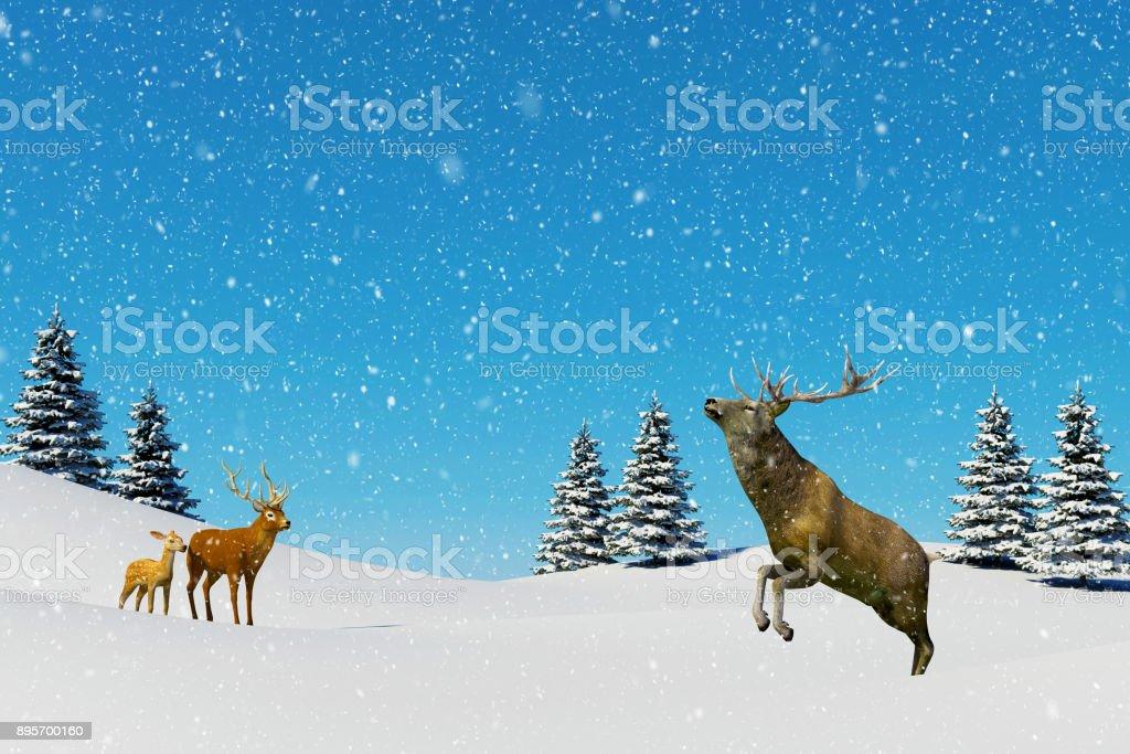 Arctic landscape scene, snow falling on reindeer in snowfield stock photo