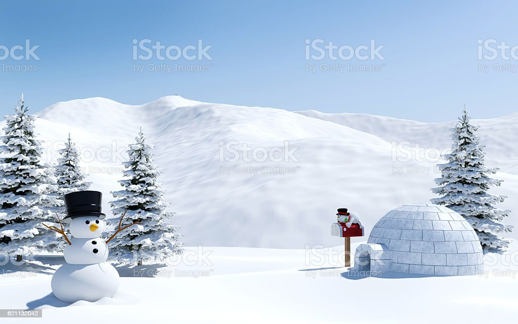 Arctic landscape, snow field with igloo and snowman in Christmas stock photo