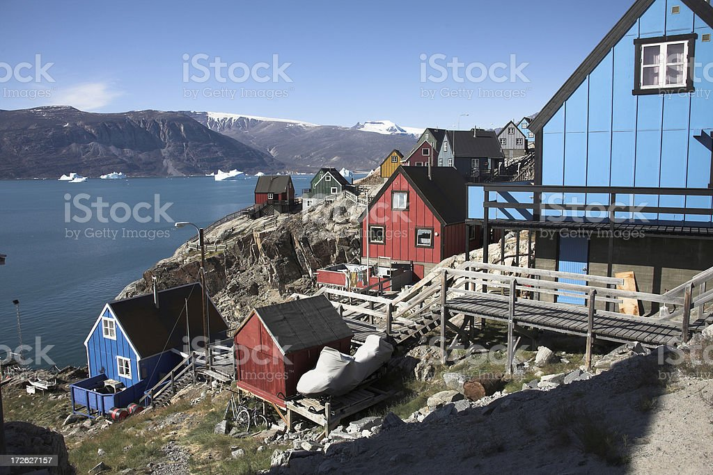 Arctic modern village stock photo