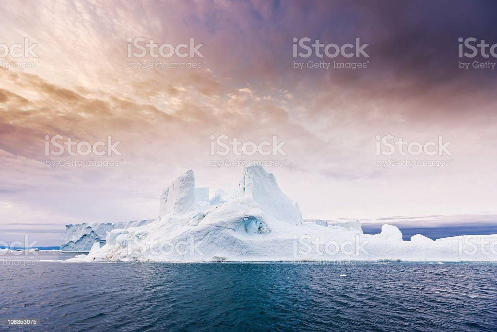 Arctic Moody Sunrise Iceberg North West Greenland  Arctic Stock Photo