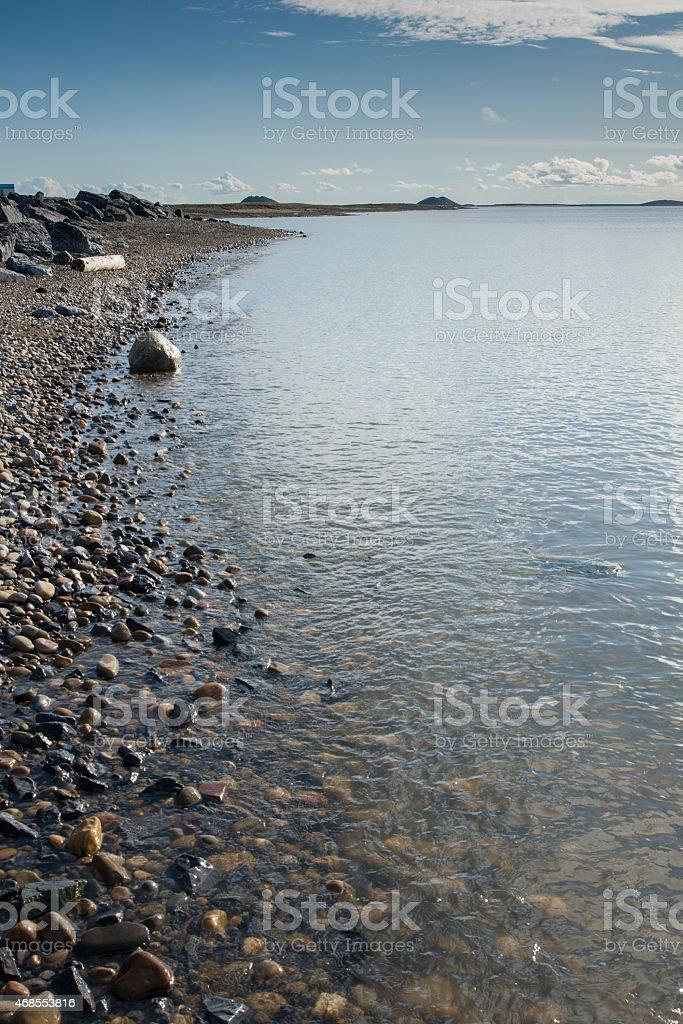 Arctic Ocean shoreline and pingos stock photo