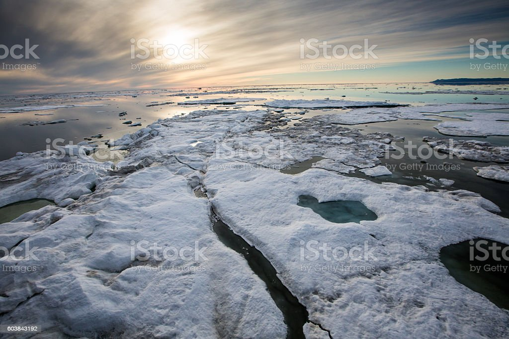 Arctic ocean with floating ice stock photo