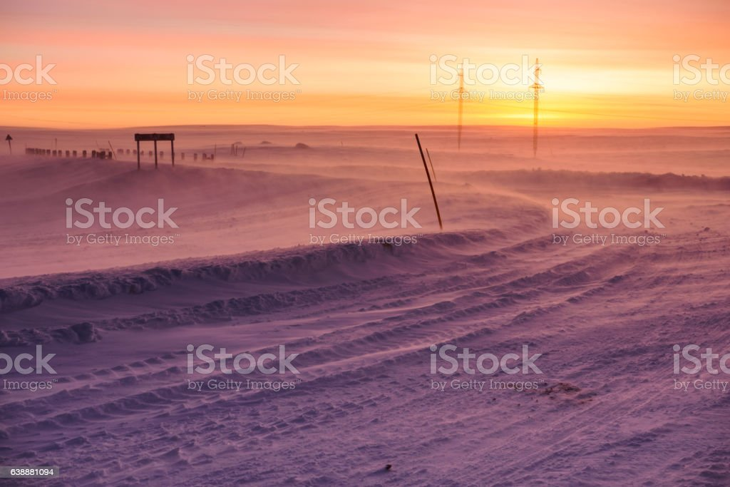 Arctic road in day time. Murmansk Region, Russia stock photo