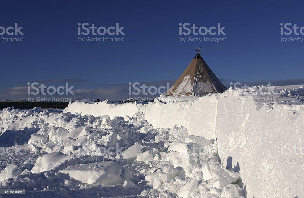 arctic sami tent at ice hotel, kiruna, sweden royalty-free stock photo