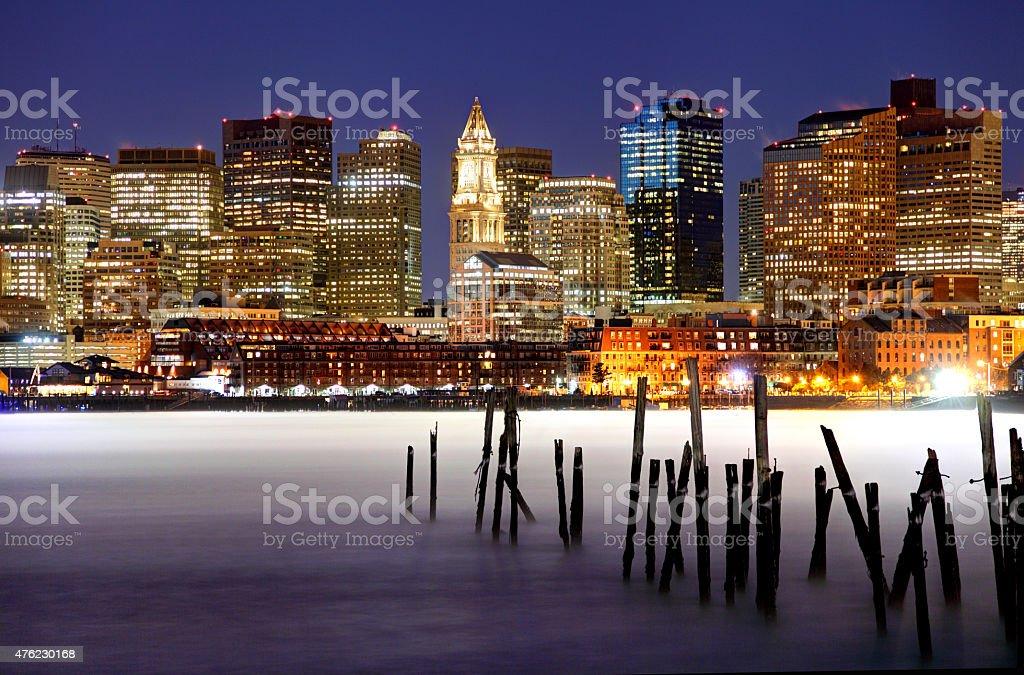 Arctic Sea Smoke on the Boston Harbor stock photo