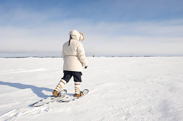 Arctic Snowshoeing, Yellowknife. stock photo