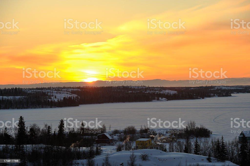 Arctic Sunrise, Yellowknife. stock photo