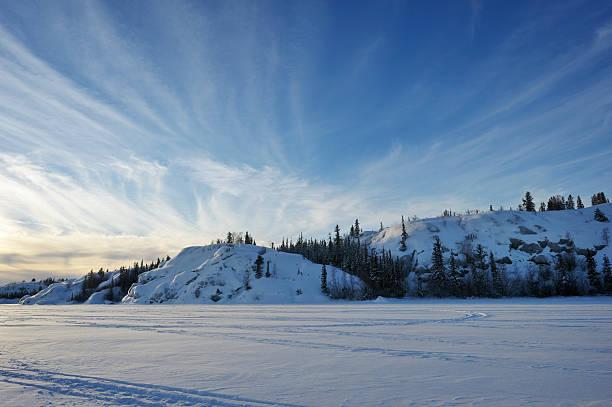 Arctic Sunset near Yellowknife. stock photo