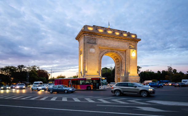 Arcul de Triumf ( Arch of Triumph ) Bucharest, Romania, located in the northern part of Bucharest, on the Kiseleff Road stock photo