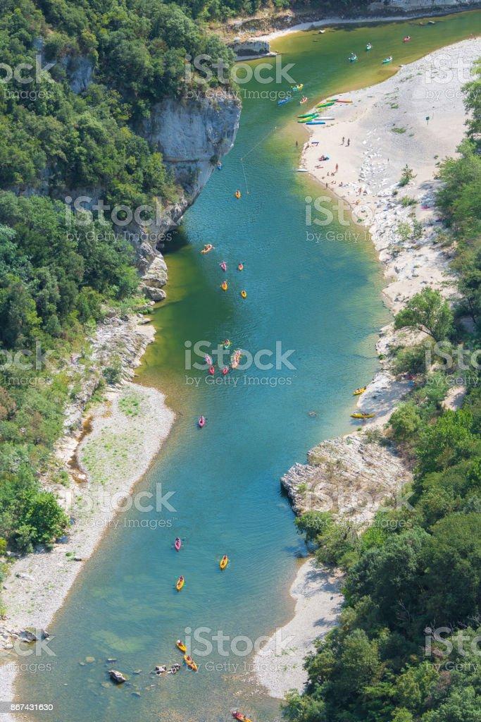 Ardeche, gorges, beautiful touristic landscape stock photo