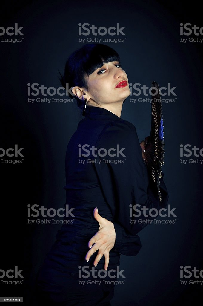 ardent italian woman with a fan royalty-free stock photo