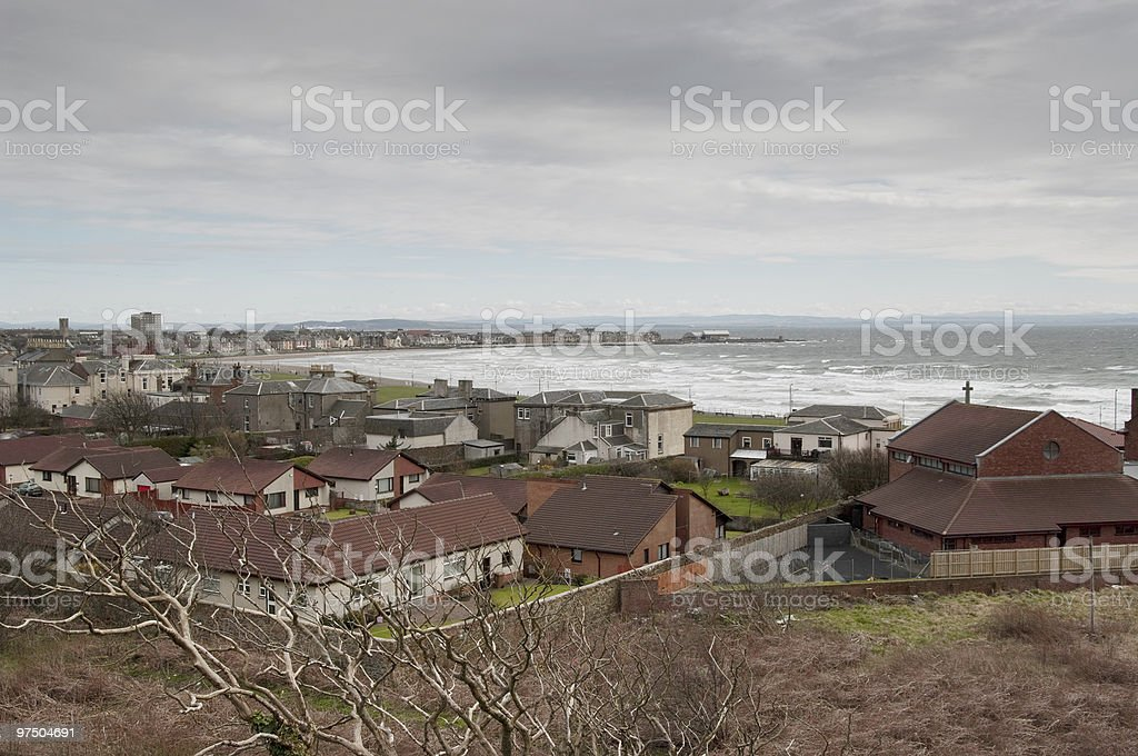 Ardrossan and Saltcoats from Castle Hill royalty-free stock photo