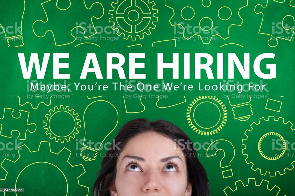 WE are hiring employment recruitment concept stock photo