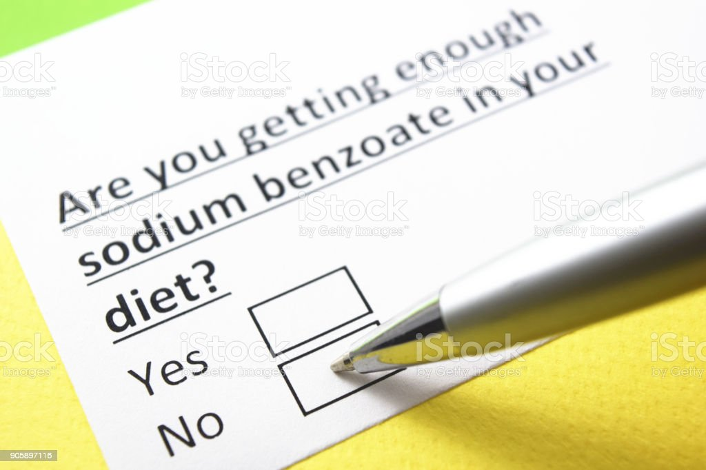 are you getting enough Sodium benzoate? yes or no? stock photo