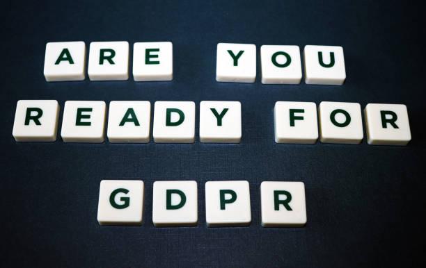 Estás listo para regulación (GDPR) juego de mesa azulejos de protección de datos - foto de stock