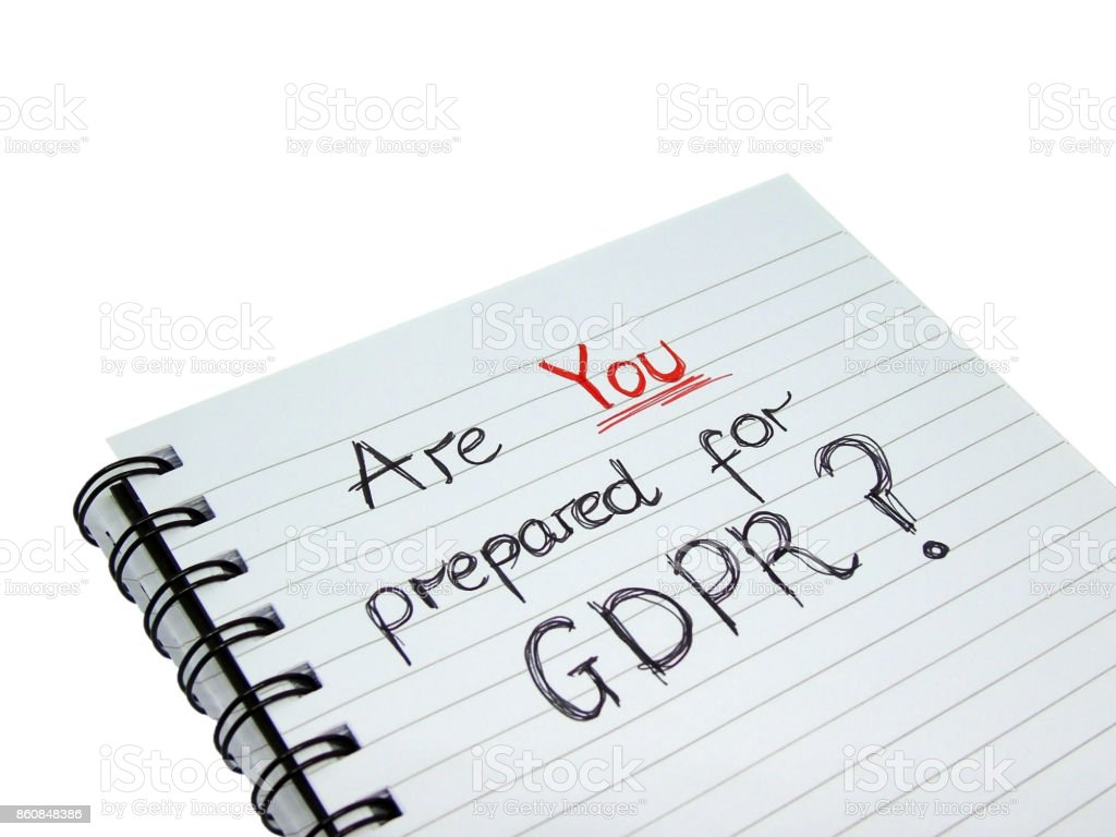Are YOU ready for General Data Protection Regulation (GDPR)? (Isolated on White Background with Clipping Path) stock photo