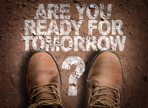 Are You Ready For Tomorrow? Top View of Boot on the trail with the text: Are You Ready For Tomorrow? environmental consciousness stock pictures, royalty-free photos & images