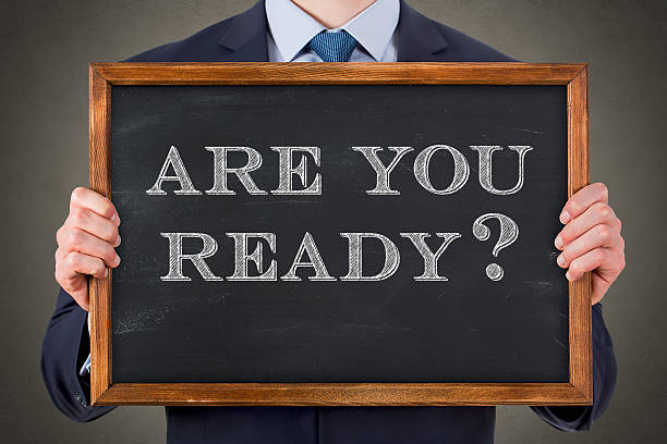 Are You Ready on Chalkboard stock photo
