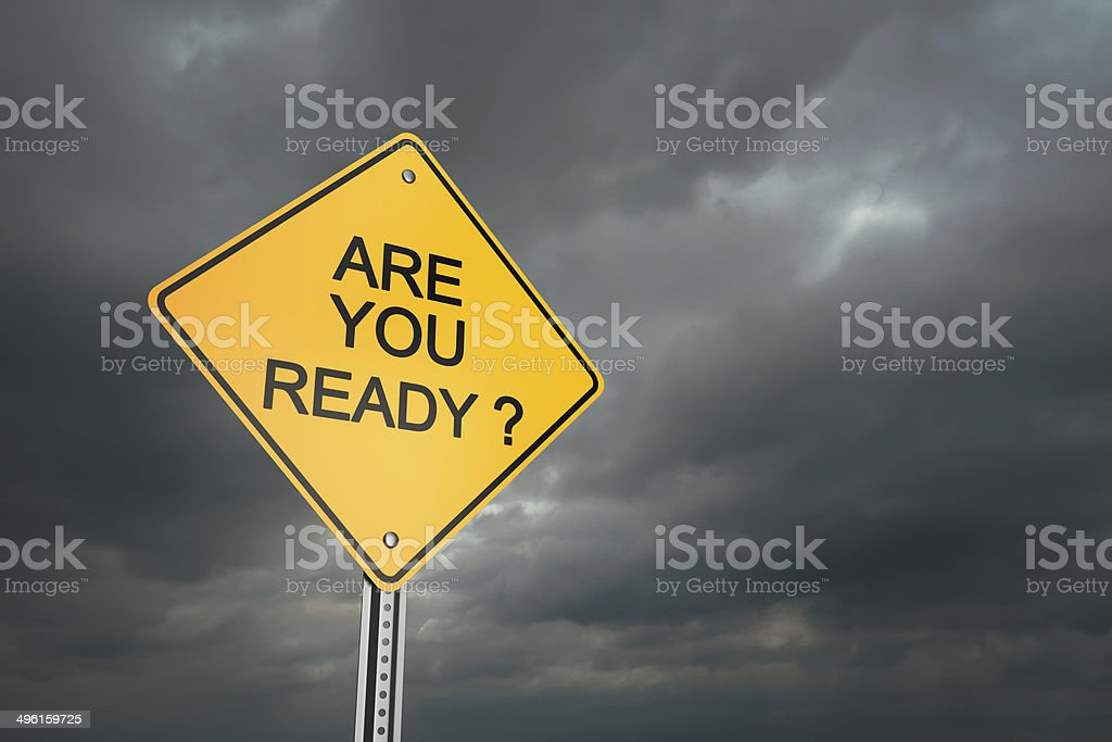 Are You Ready ? Yellow road warning sign , Are You Ready ? , 3d render Alertness Stock Photo
