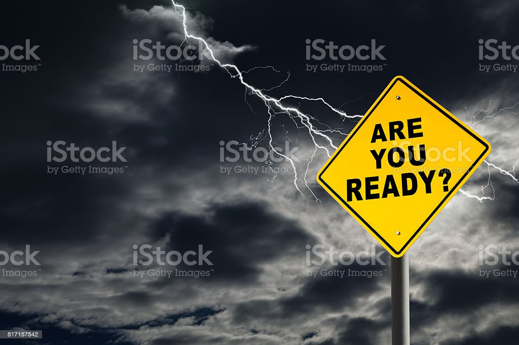 Are You Ready Sign Against Cloudy and Thunderous Sky stock photo