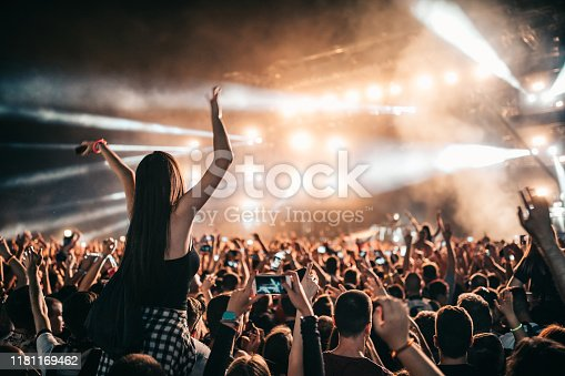 Crowd partying at a music gig