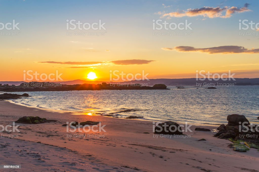 Area da Secada beach at sunset royalty-free stock photo