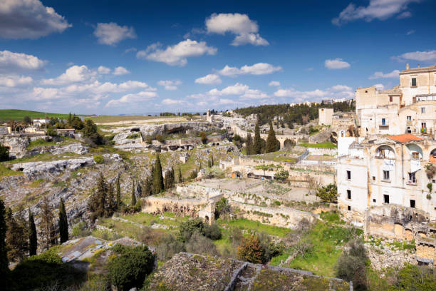Area di Capotenda Gravina di Puglia, Bari, Italy - March 28, 2017 - This Park's territory is fascinous as much as unknown mattock stock pictures, royalty-free photos & images