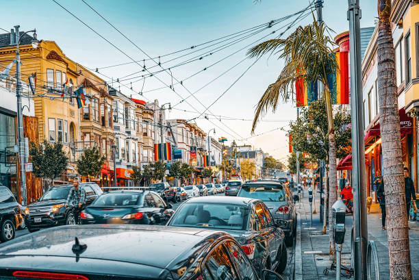 Area of the city of Castro,cluster of gay lesbian LGBT culture. stock photo