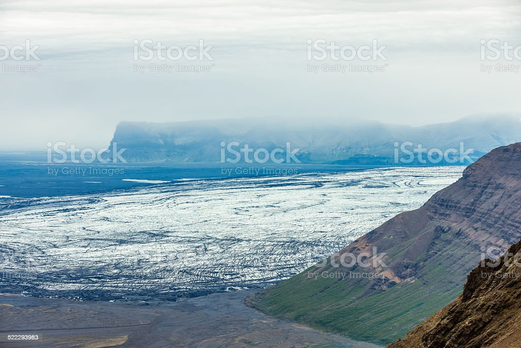Areail view of Skeidararjokull. stock photo