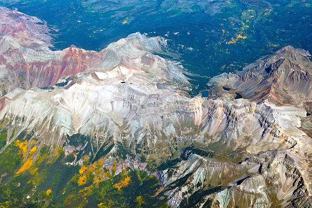 "Areal View of Colorado Mountains USA ""Mount Sneffels, Gilpin Peak, TO Peak, Lower Blue Lake, in Colorado, USA."" san juan county colorado stock pictures, royalty-free photos & images"