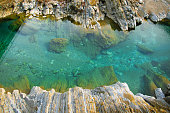 Areal view  of pure turquoise river water and white rocks. Natural background with space for text