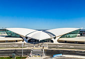 New York, USA - October 20, 2015: Areal view of the historic TWA Flight Center and JetBlue Terminal 5 at John F Kennedy International Airport in New York ..