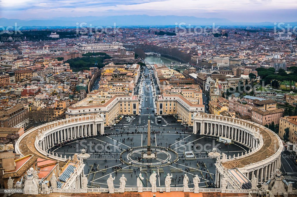 Areal view of Vatican City stock photo