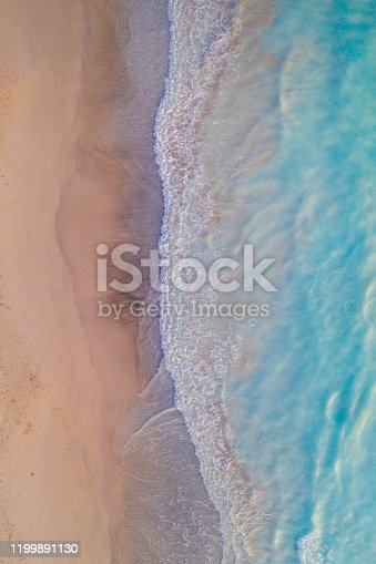 Areal view of waves on the beach