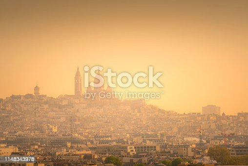 areal view over Montmartre with Sacre Coeur in Paris