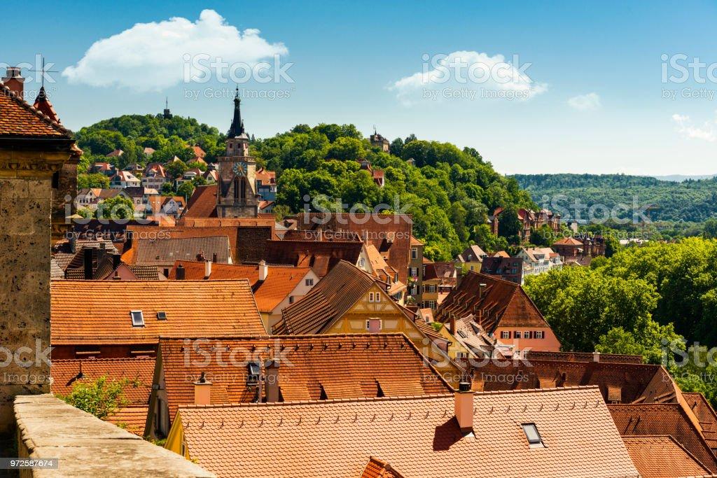 areal view over Tübingen stock photo