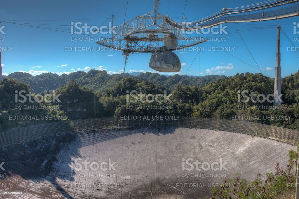 Arecibo Observatory radio telescope in Puerto Rico stock photo
