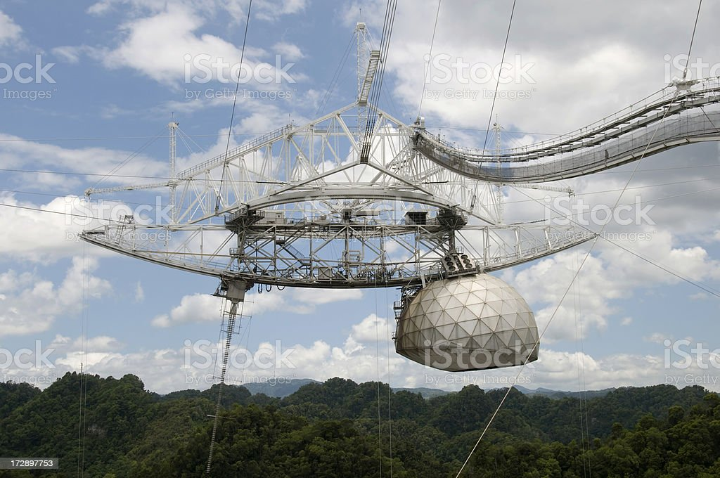 Arecibo Radio Telescope Receiver Array stock photo