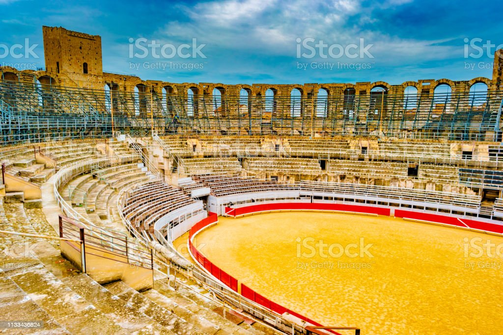 Arena and roman amphitheatre in Arles, France stock photo