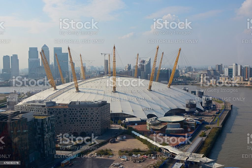 O2 Arena at Greenwich, London, England. Aerial view stock photo