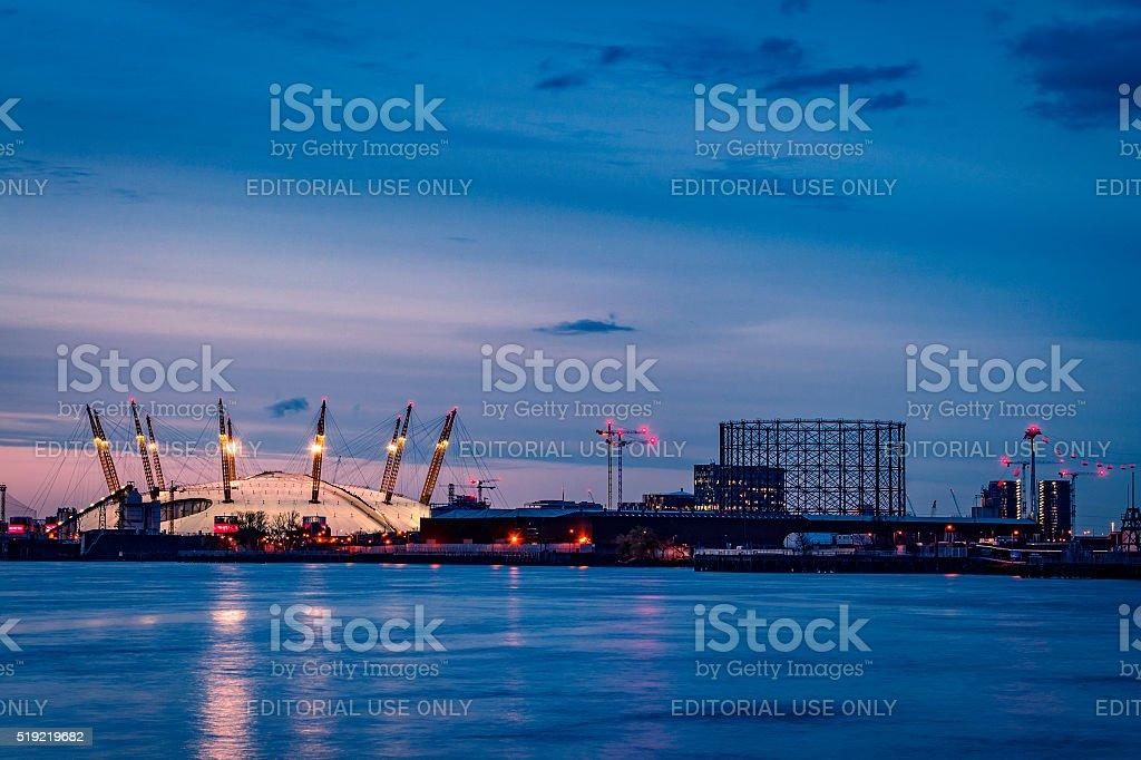 O2 Arena at night in London, UK stock photo