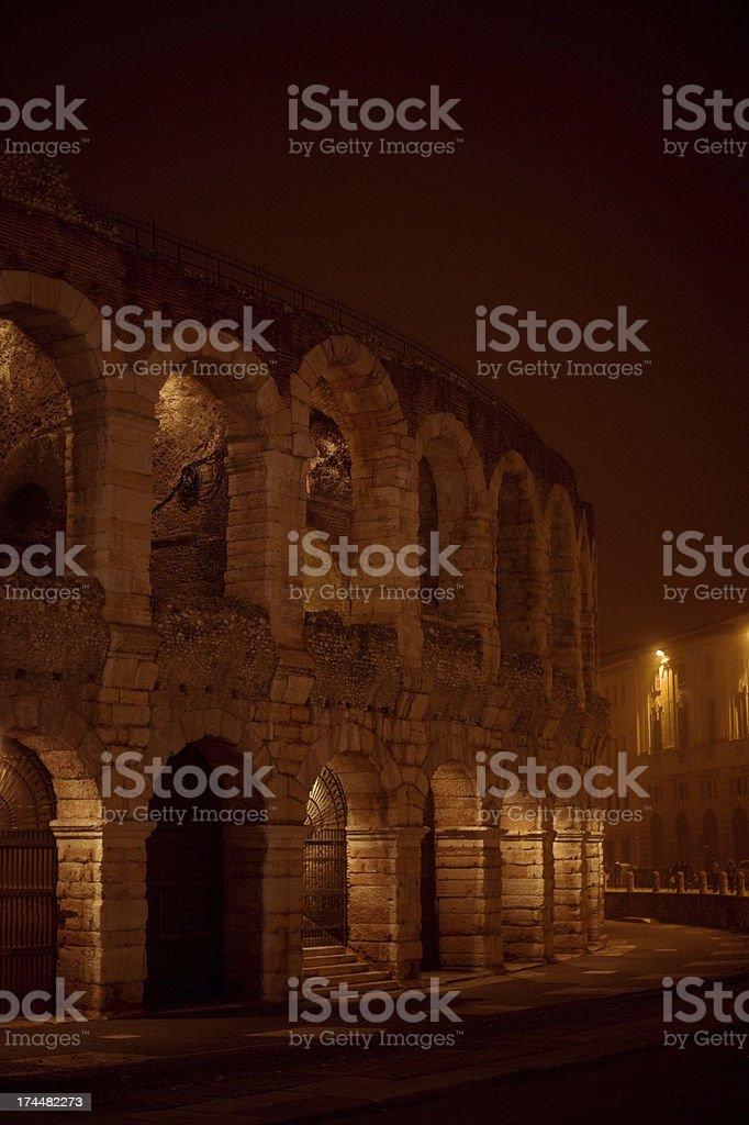 Arena di Verona in the fog royalty-free stock photo