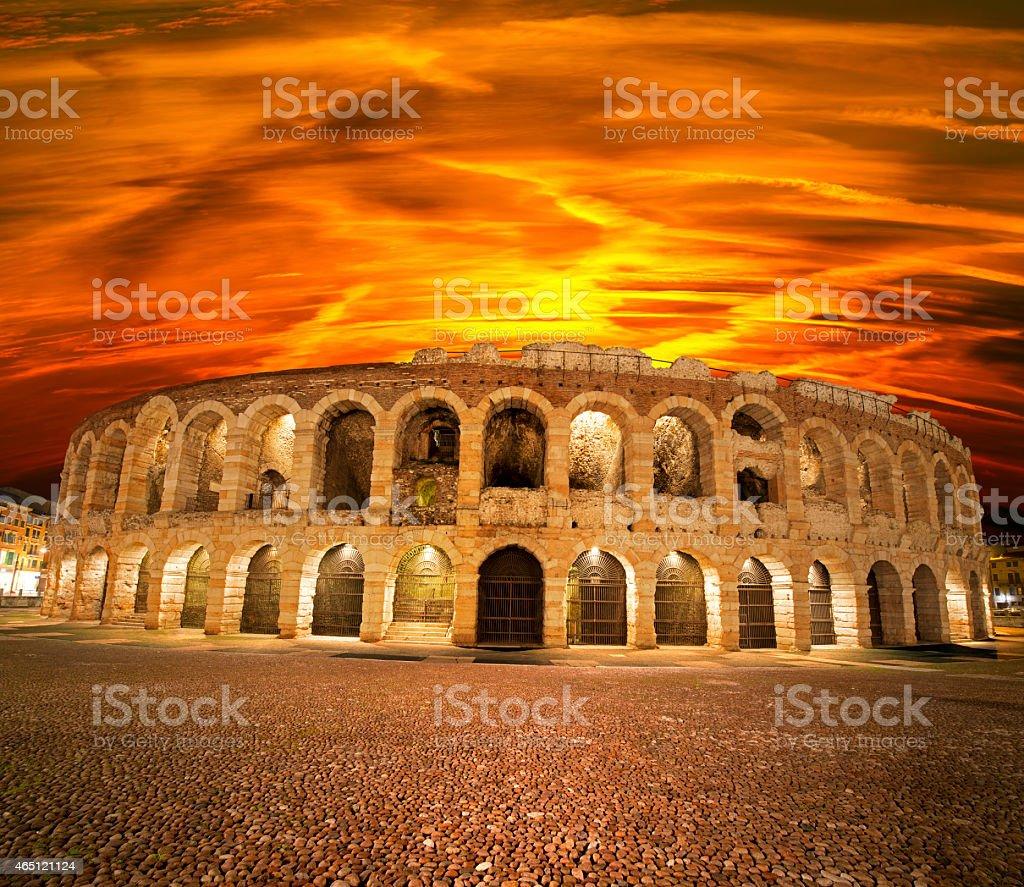 Arena di Verona al tramonto-Italia - foto stock