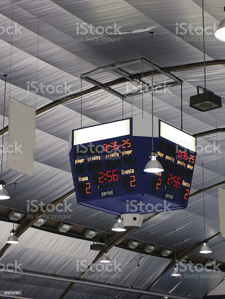 Arena Scoreboard stock photo